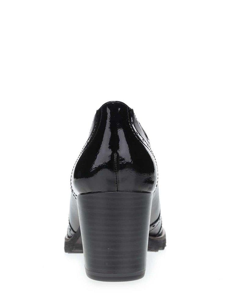 Černé kožené polobotky na podpatku Tamaris