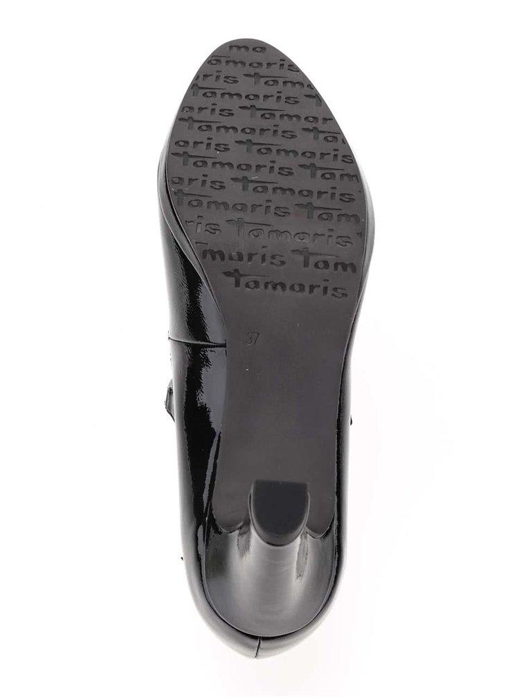 Černé lesklé lodičky s páskem Tamaris