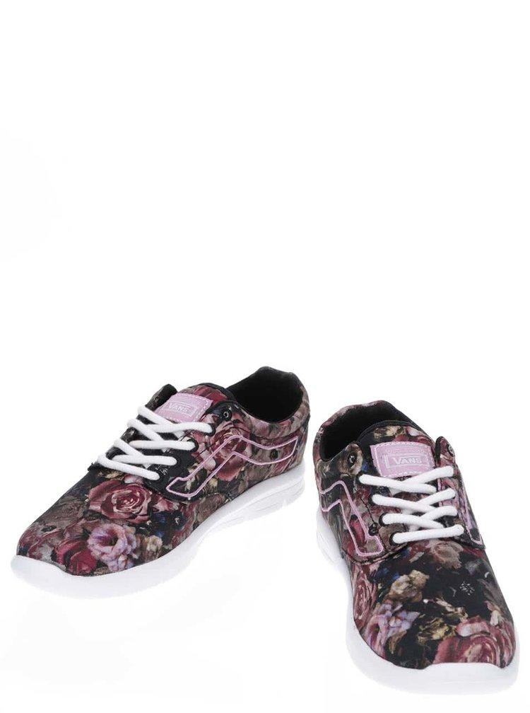 Čierne dámske športové tenisky s potlačou kvetín Vans Iso 1.5
