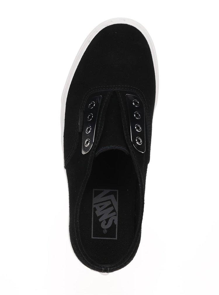 Černé semišové unisex tenisky bez tkaniček VANS Authentic