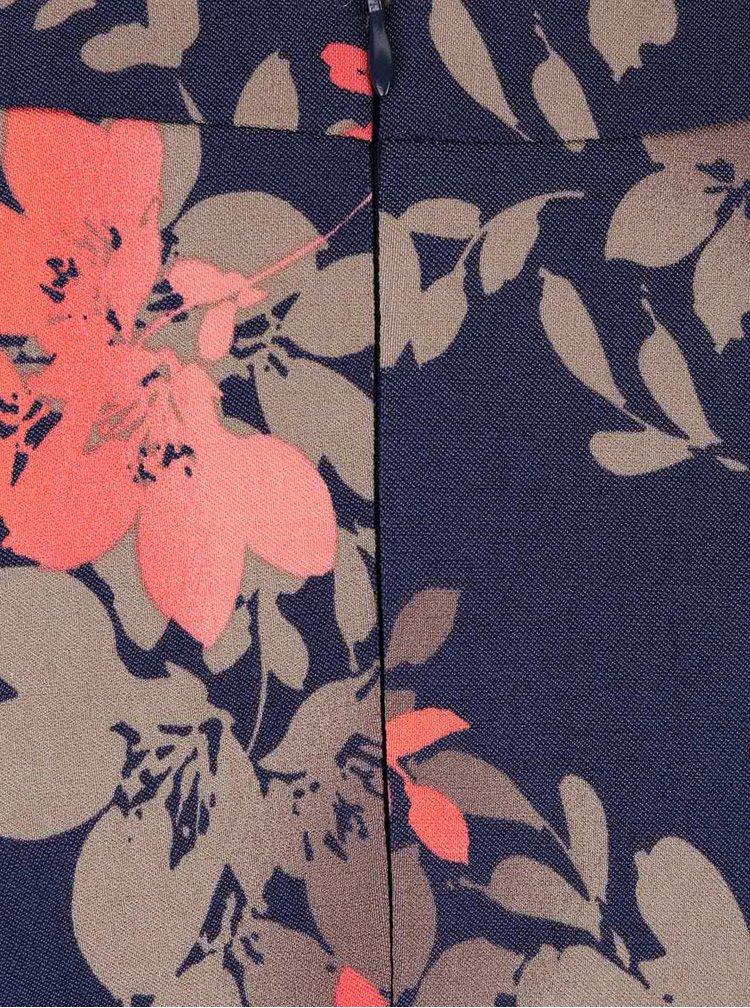 Tmavě modré šaty s potiskem lístků Apricot