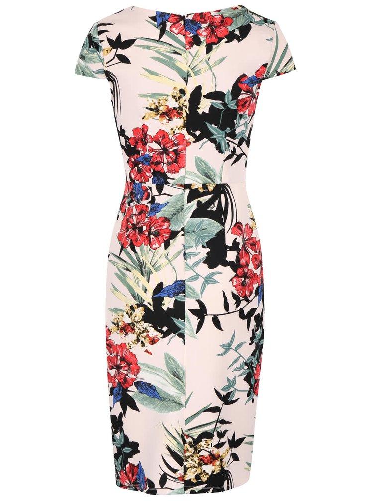 Krémové puzdrové šaty s kvetovaným vzorom Dorothy Perkins