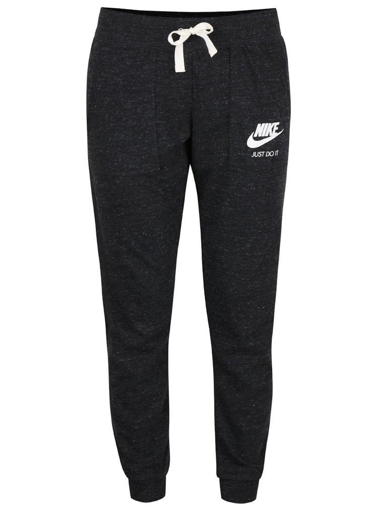 Tmavě šedé žíhané dámské tepláky Nike Gym Vintage