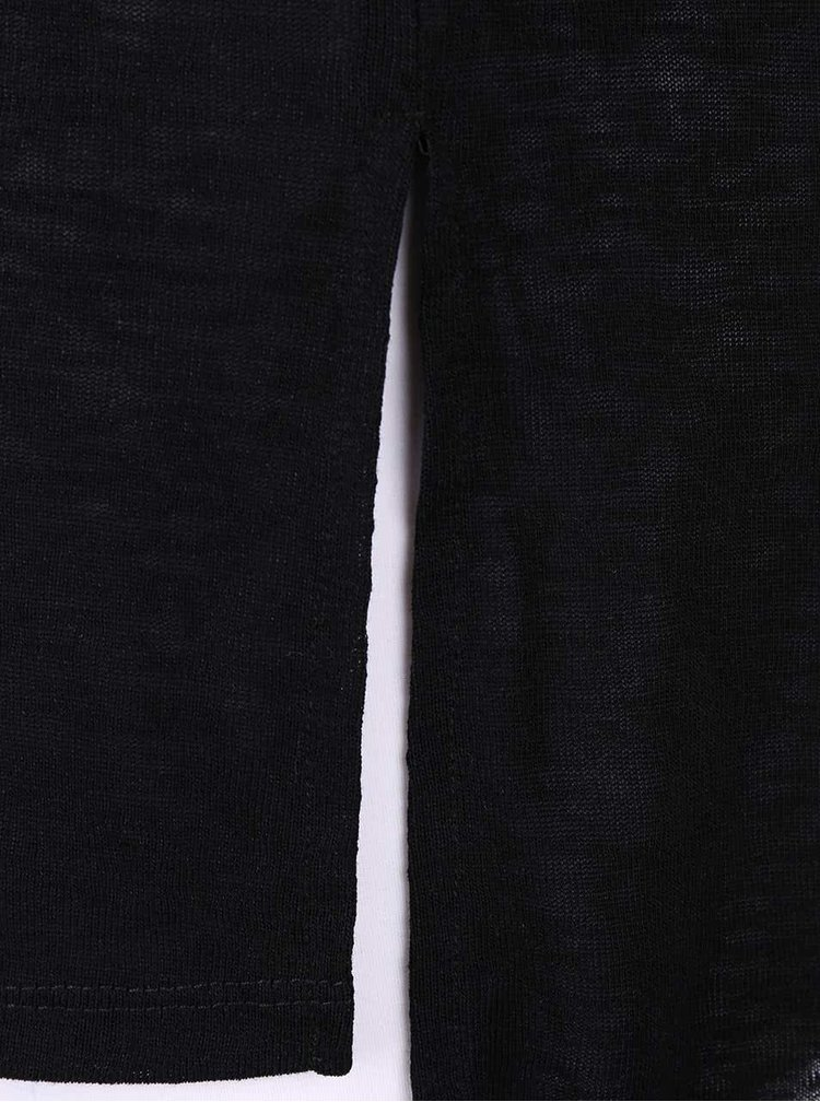 Čierny dlhší top s rozparkami VILA Sumina