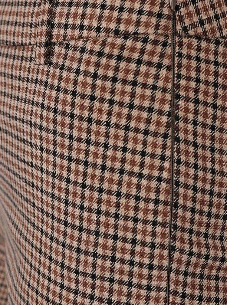 Světle hnědé kostkované kalhoty VERO MODA Abbyida
