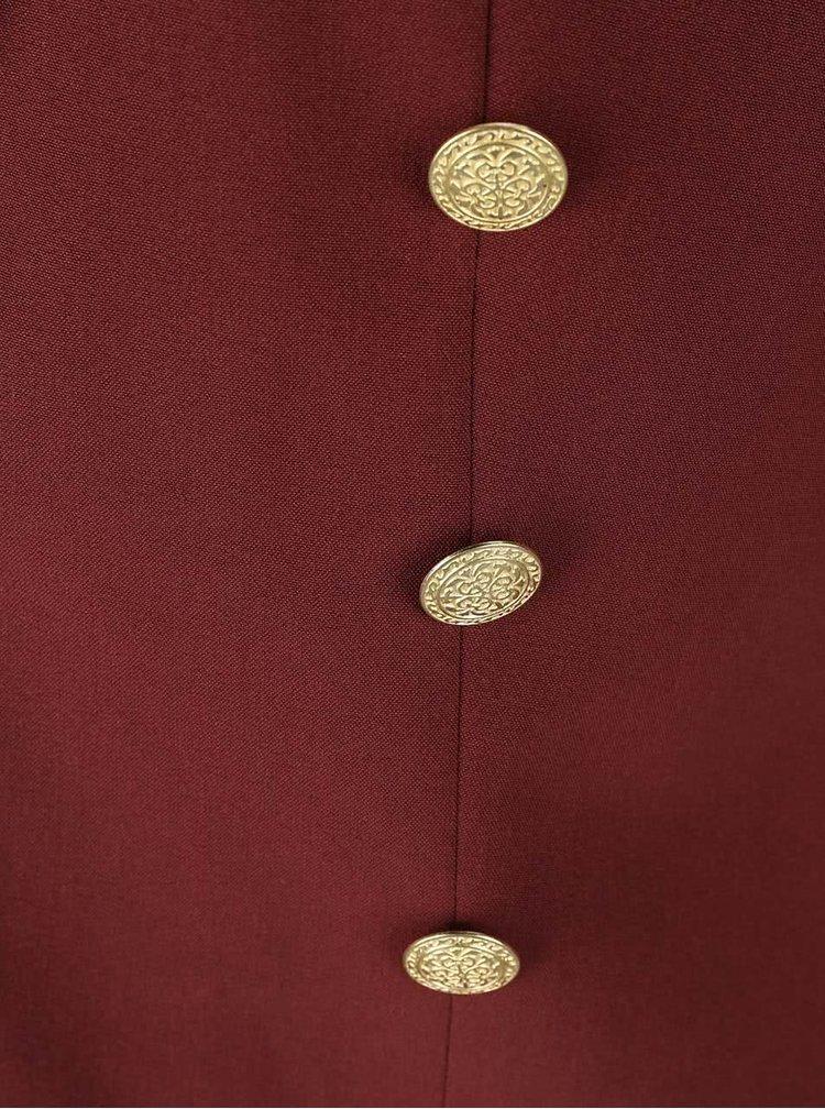 Vínovohnědé sako s knoflíky ve zlaté barvě VERO MODA Dana