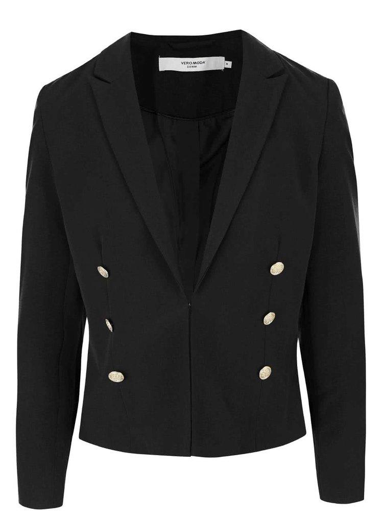Čierne sako s gombíkmi v zlatej farbe VERO MODA Dana