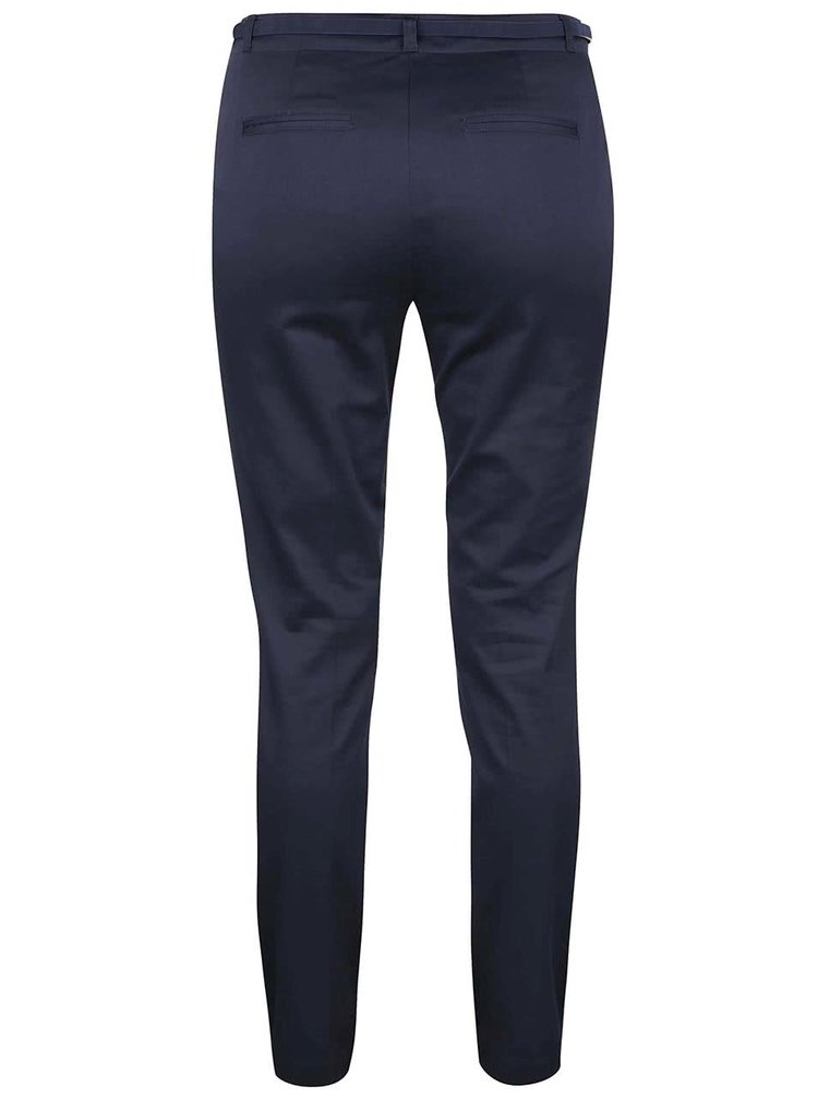 Tmavě modré slim fit kalhoty s páskem VERO MODA Roos