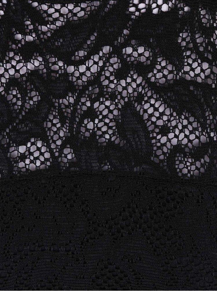 Černé krajkované body s dlouhým rukávem a rolákem VERO MODA Laky