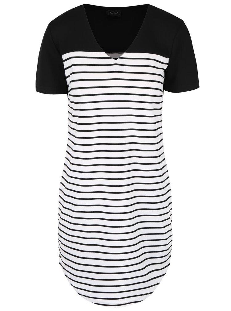 Černo-bílé pruhované šaty VILA Tinny