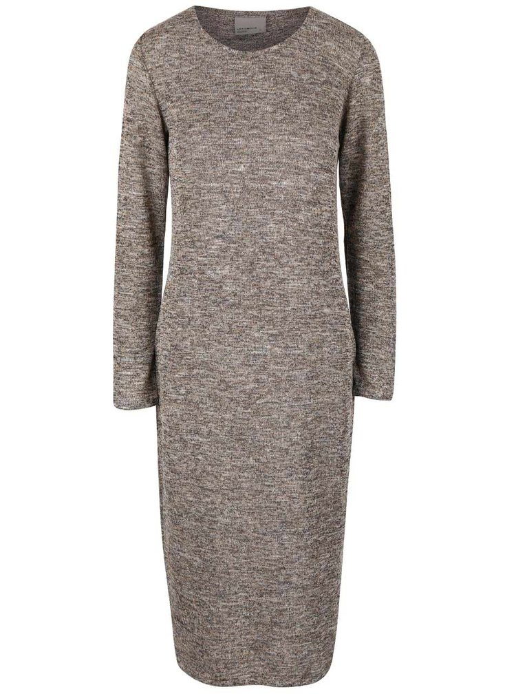 Hnědé žíhané svetrové šaty s dlouhým rukávem VERO MODA Scotty