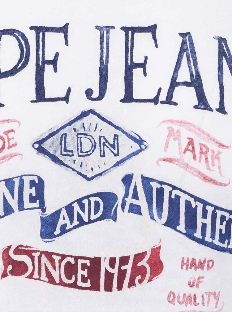 Biele pánske tričko s potlačou Pepe Jeans Richond