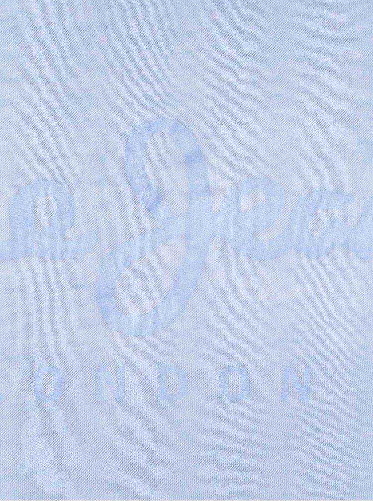 Světle modré žíhané pánské triko s potiskem Pepe Jeans Battersea