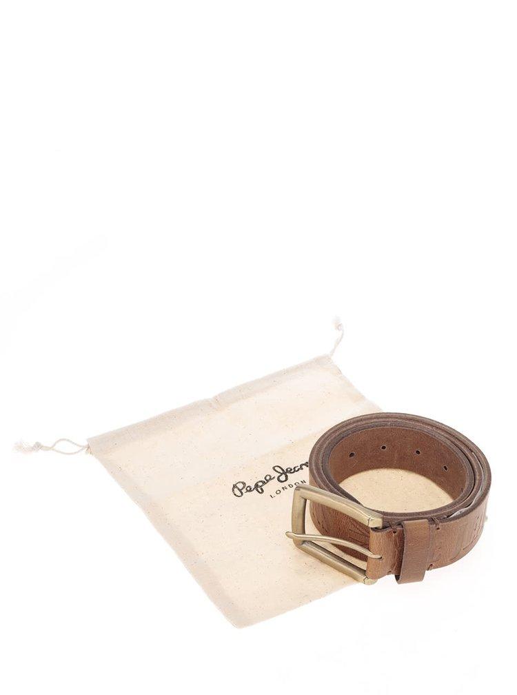 Hnedý pánsky kožený opasok so vzorom Pepe Jeans Sauco