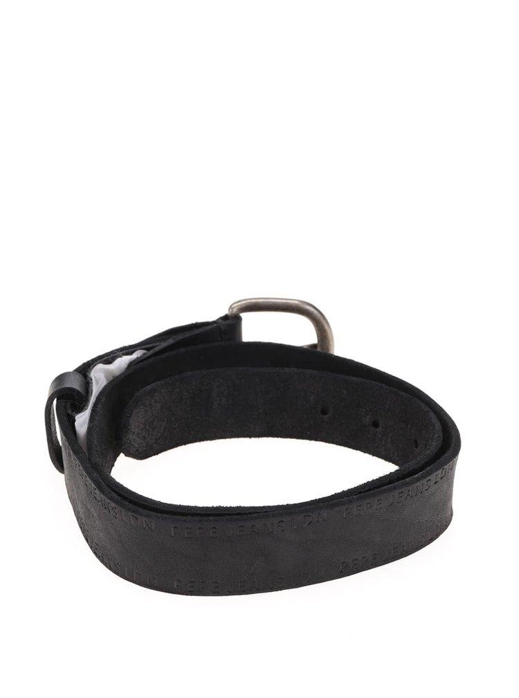 Černý pánský kožený pásek Pepe Jeans Delphi
