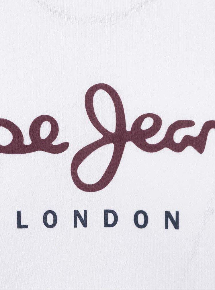 Bílé pánské triko s dlouhým rukávem Pepe Jeans Eggo long