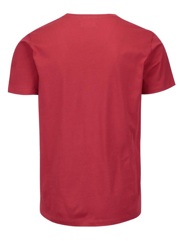 Červené pánské triko s potiskem Pepe Jeans Eggo