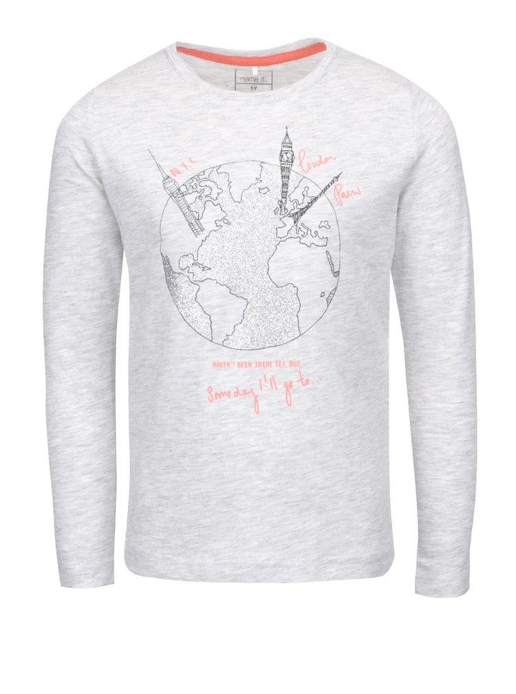 Svetlosivé melírované dievčenské tričko s dlhým rukávom name it Kavi
