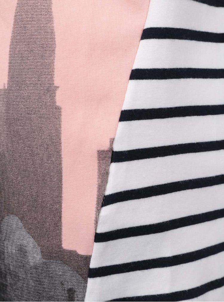 Růžovo-krémová holčičí tunika s potiskem a pruhy name it Karina