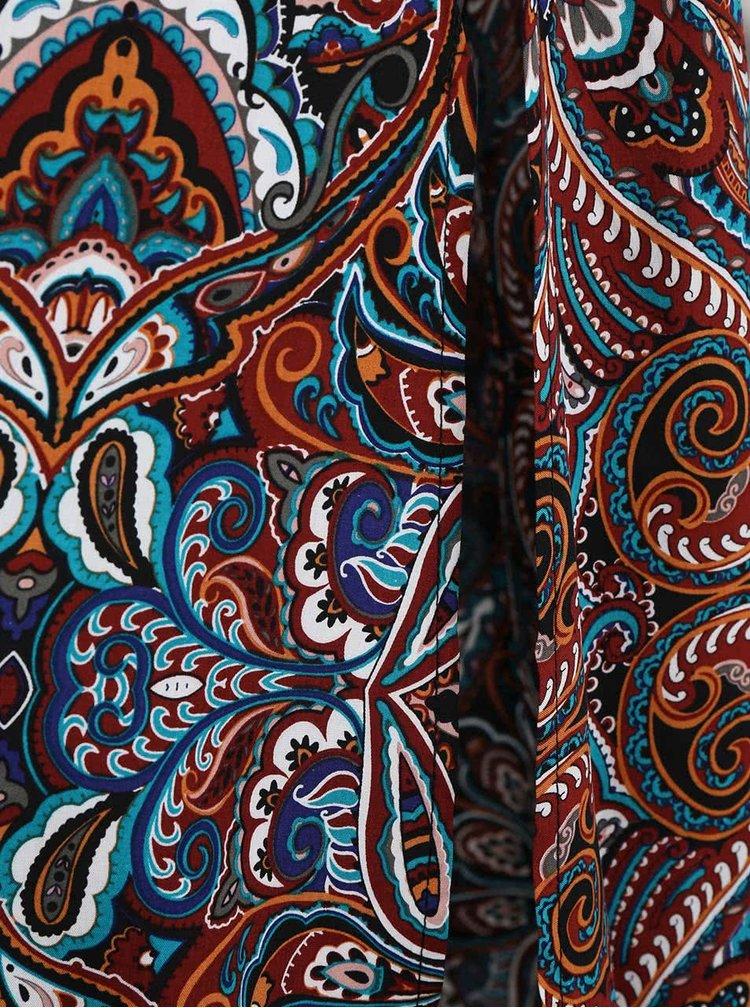 Hnědé maxišaty s barevnými vzory ONLY Nova