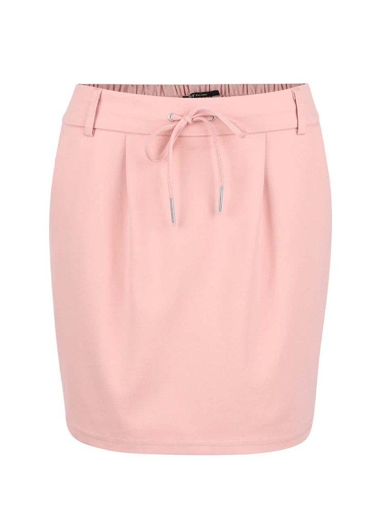 Světle růžová sukně se zavazováním ONLY Poptrash