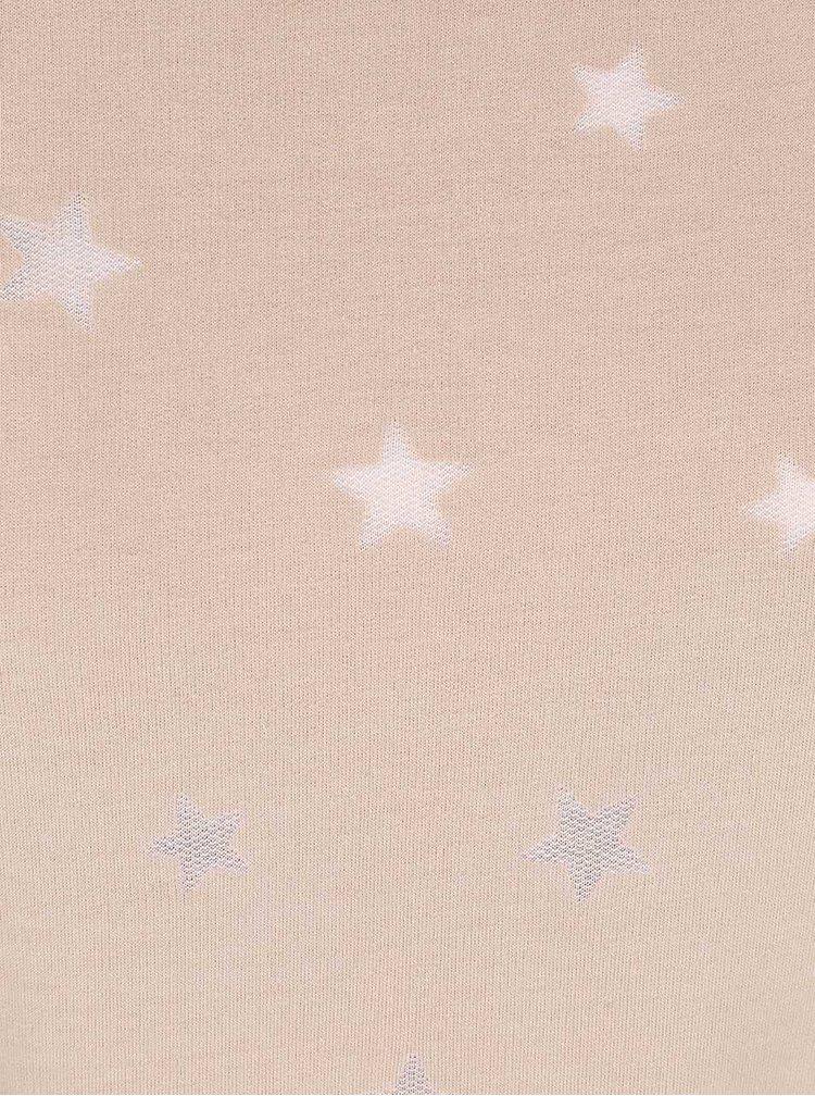 Béžová mikina s potlačou hviezd ONLY Christina
