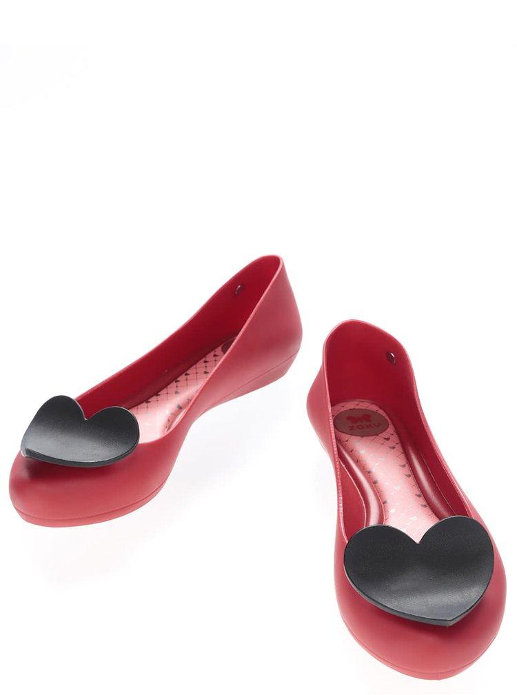 Červené plastové baleríny se srdcem Zaxy Pop Heart