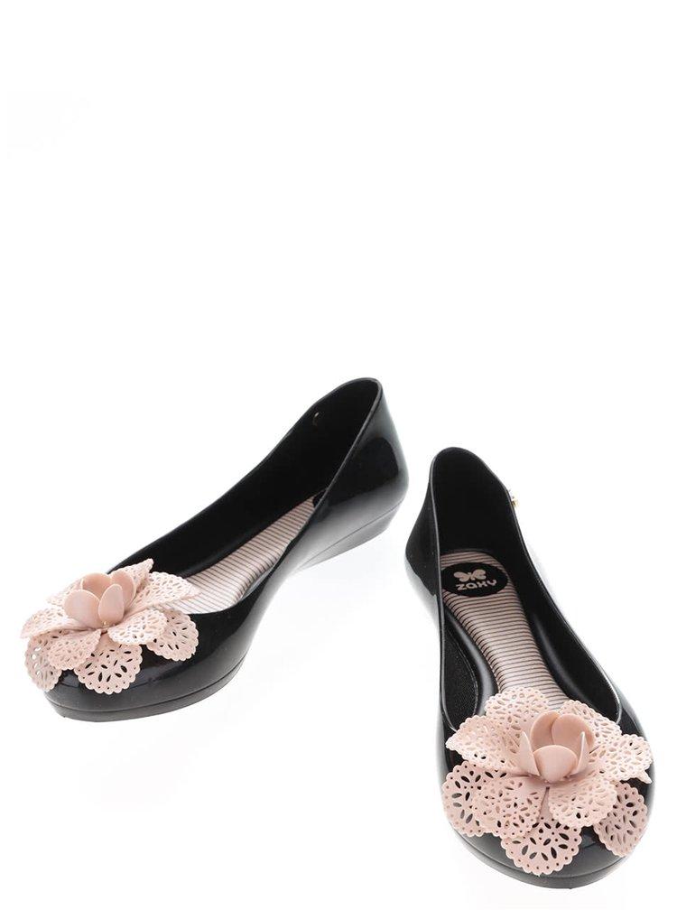 Čierne plastové baleríny s kvetinou Zaxy Pop Garden