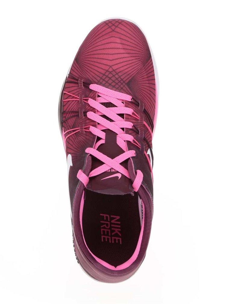 Ružovo-vínové dámske tenisky Nike Free 6 Print