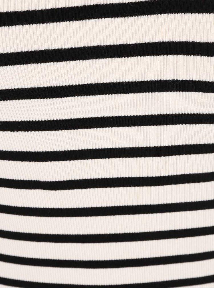Čierno-krémové pruhované tričko bez rukávov ONLY Rumle