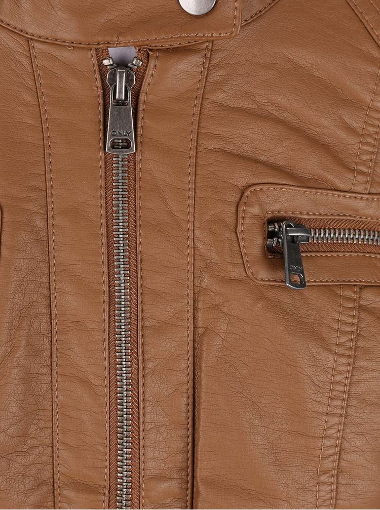 Hnedá koženková bunda ONLY Bandit