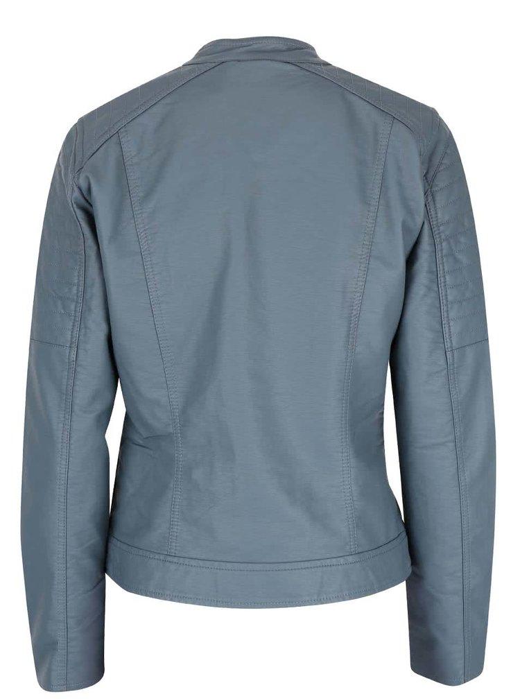 Sivomodrá koženková bunda ONLY New Start