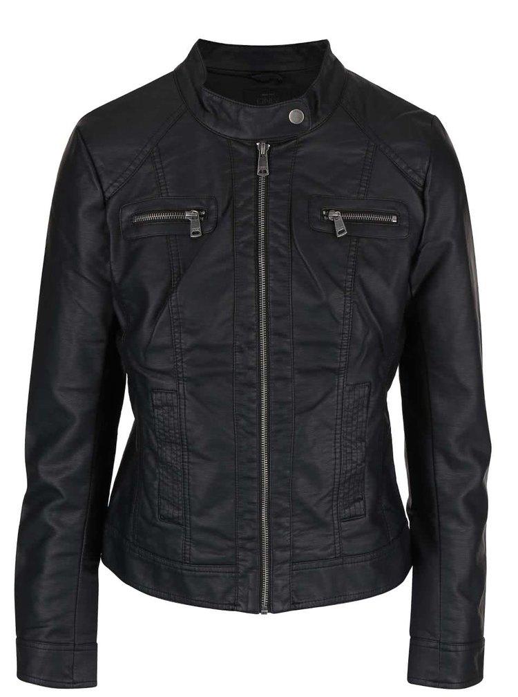 Černá koženková bunda ONLY Bandit