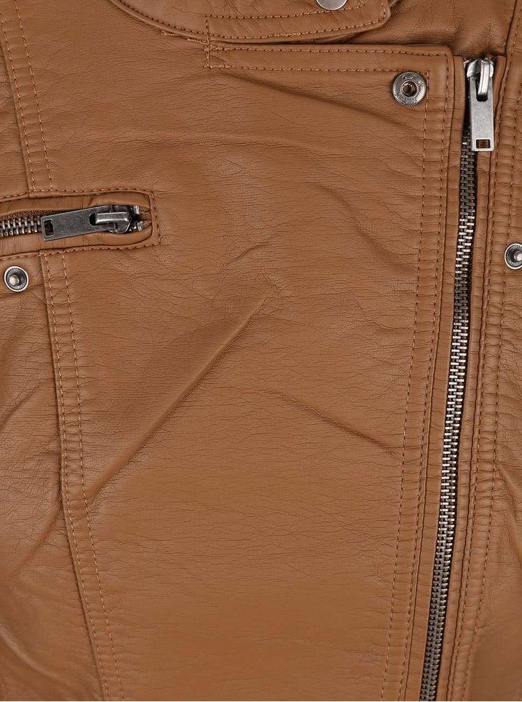 Jachetă maro ONLY New Start din piele sintetică