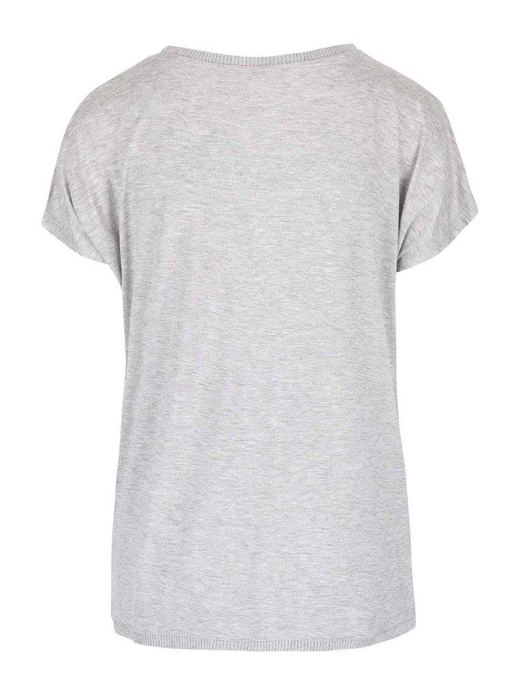 Svetlosivé oversized tričko s potlačou ONLY Vickela