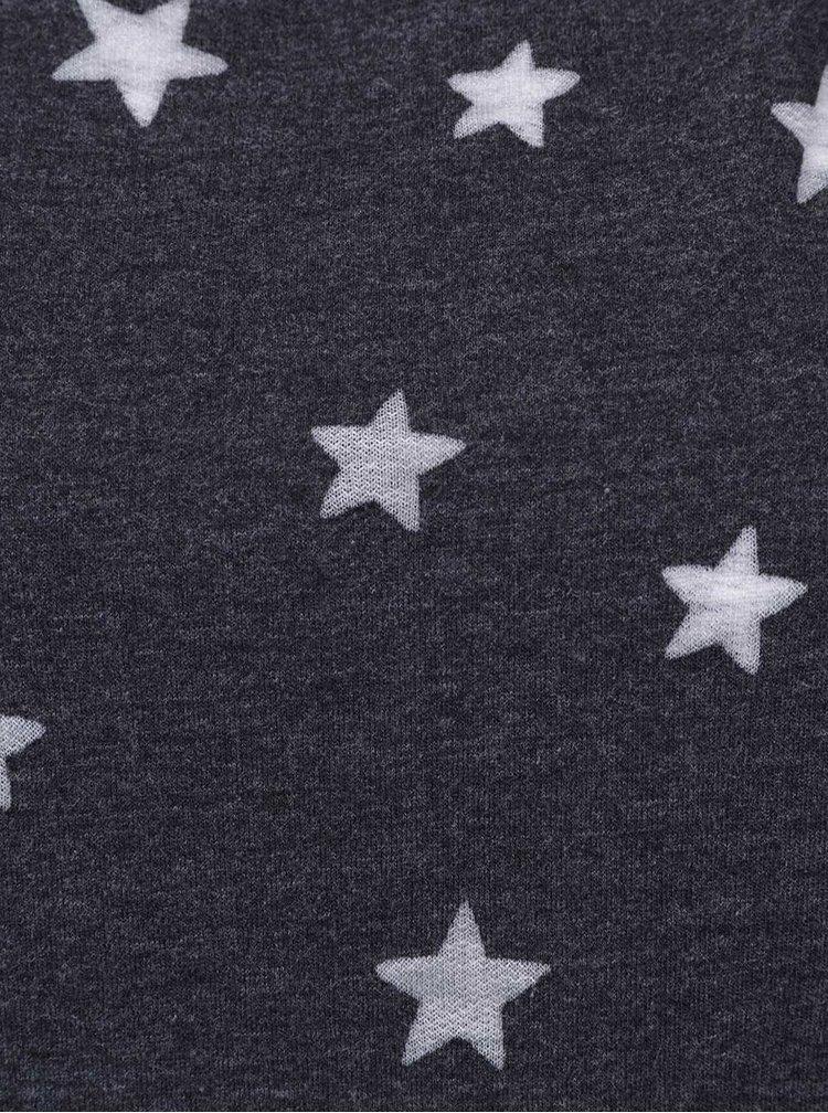 Tmavě šedá mikina s potiskem hvězd ONLY Christina