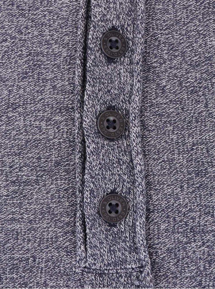 Modré pánske melírované tričko s dlhým rukávom s.Oliver