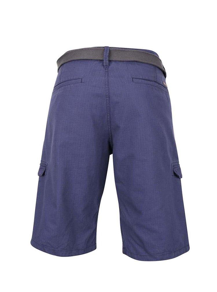 Pantaloni scurti albastri s.Oliver din bumbac cu curea