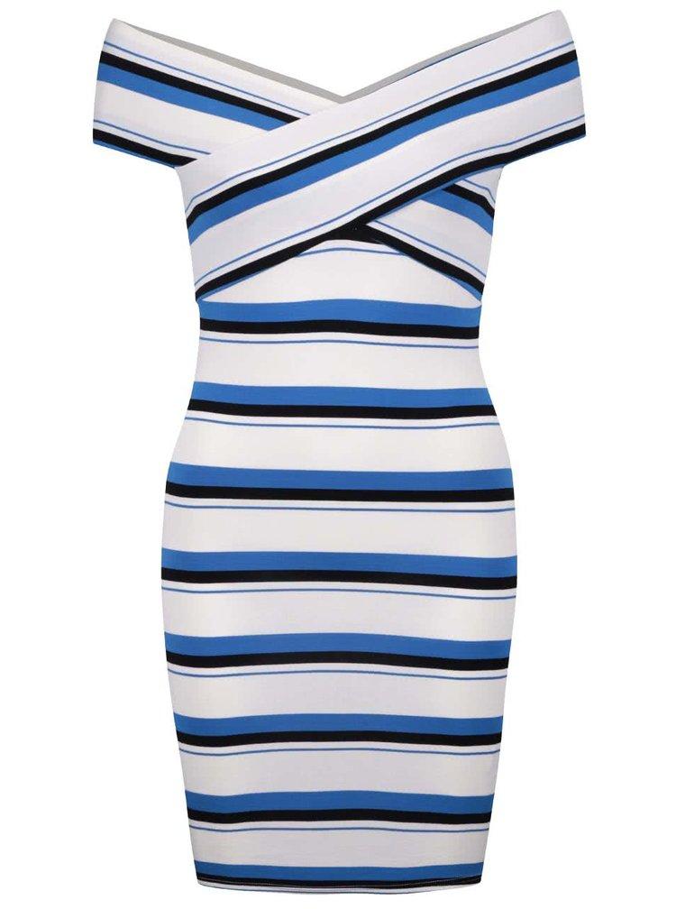 Krémové šaty s modro-čiernymi pruhmi Miss Selfridge Petites