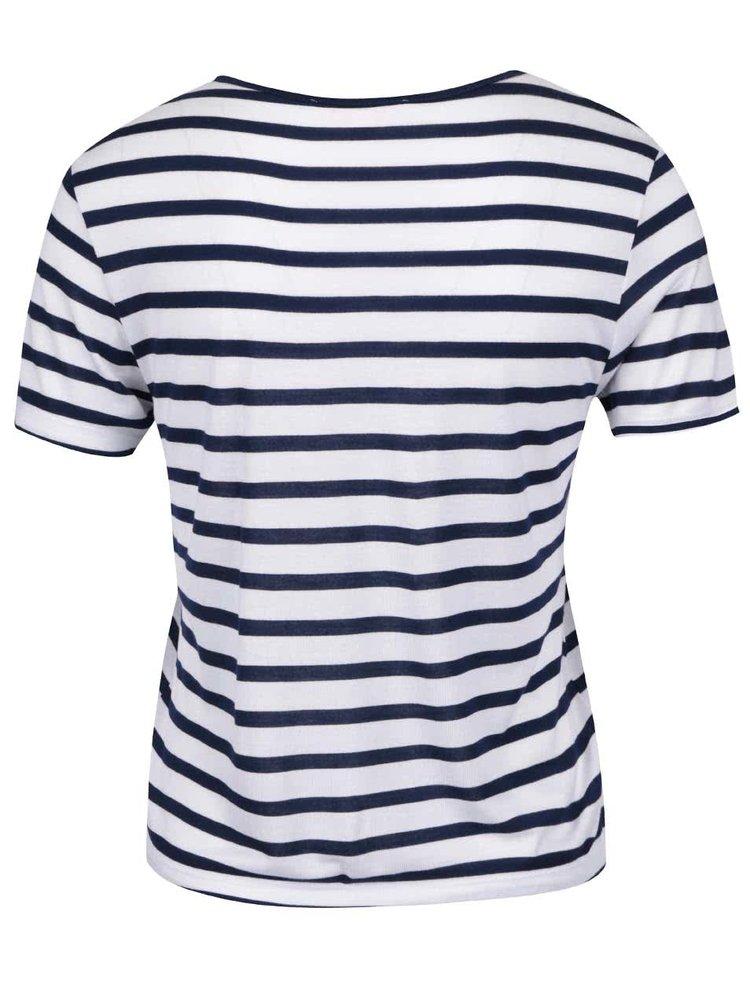 Krémové tričko s modrými pruhy Miss Selfridge Petites