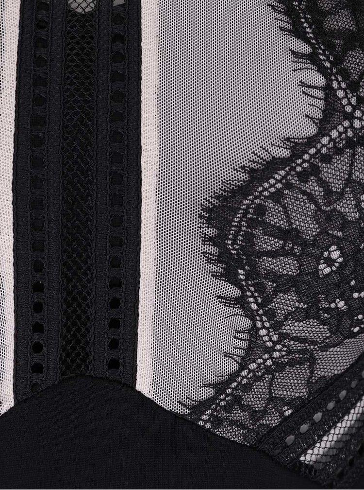 Telovo-čierne body s ozdobným výstrihom Miss Selfridge