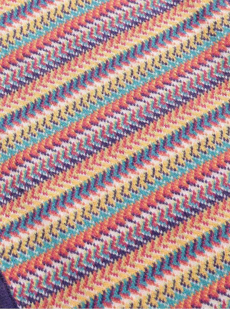 Fialový pruhovaný dievčenský ľahký šál Bóboli