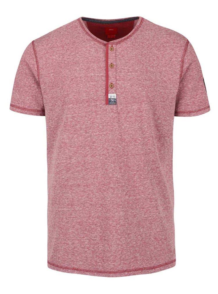 Vínové pánske melírované tričko s gombíkmi s.Oliver