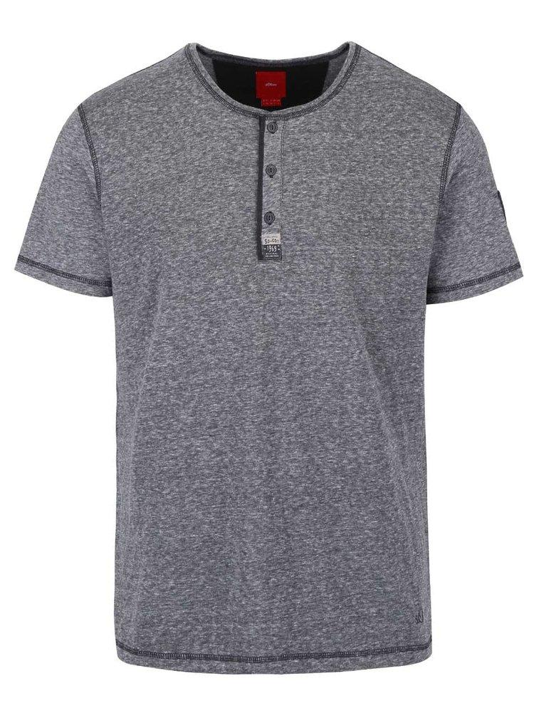 Tmavosivé pánske melírované tričko s gombíkmi s.Oliver