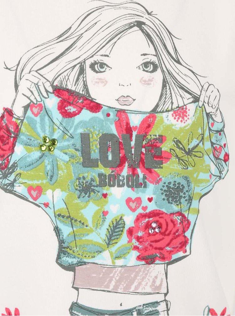 Krémové holčičí tričko s potiskem a barevnými kamínky Bóboli