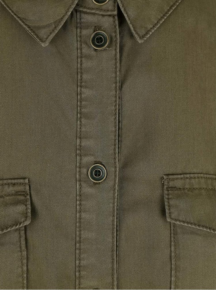 Khaki košilové šaty s kapsami ONLY Arizona