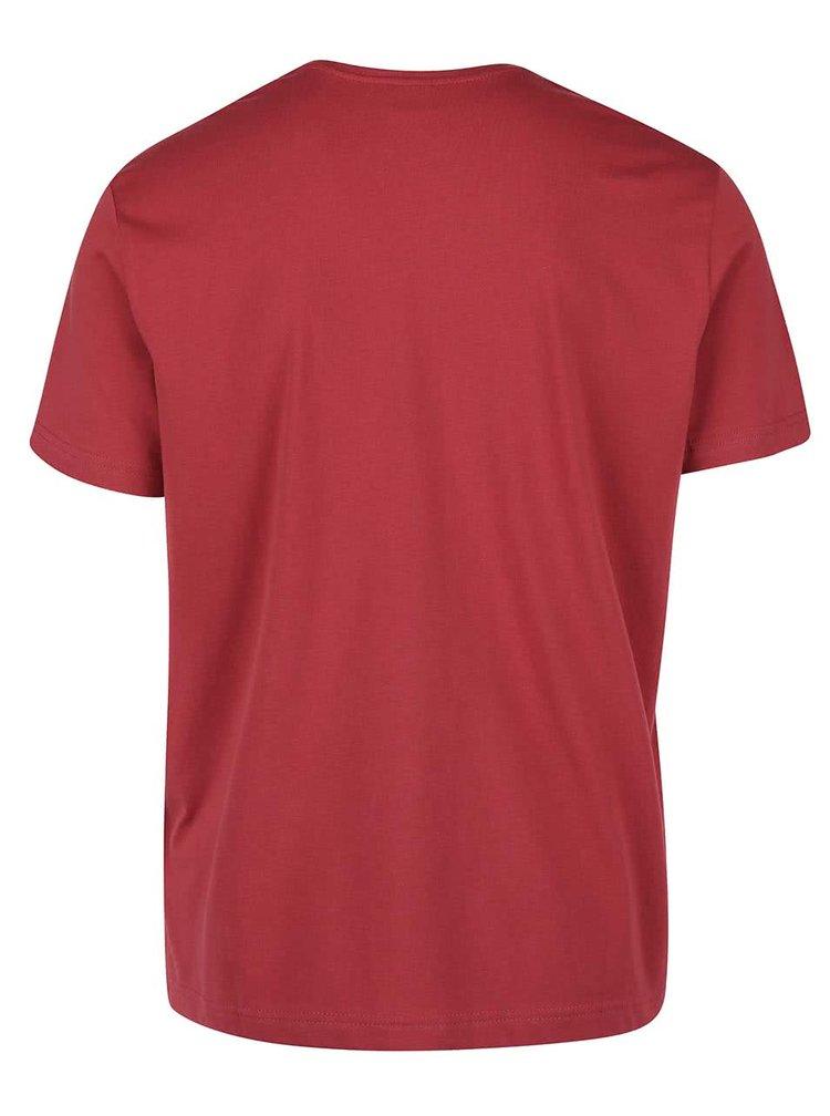 Vínové pánské triko s potiskem s.Oliver