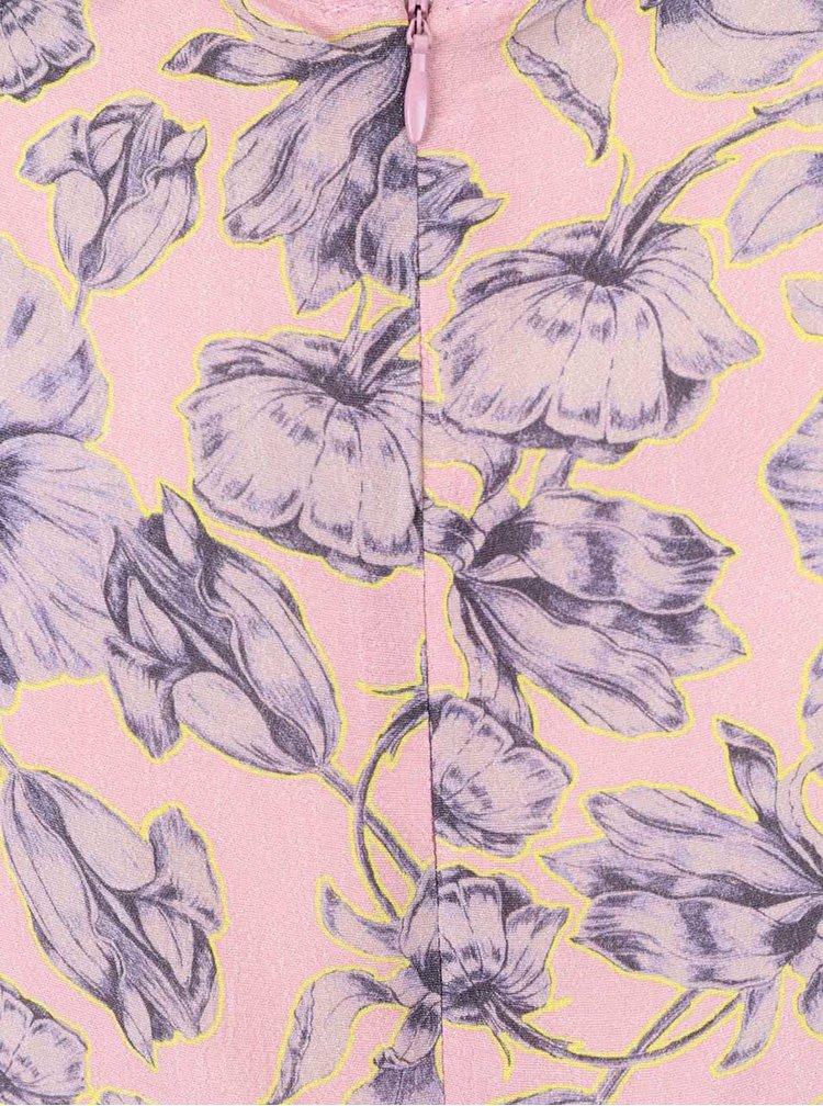 Svetloružové kvetinové šaty Miss Selfridge