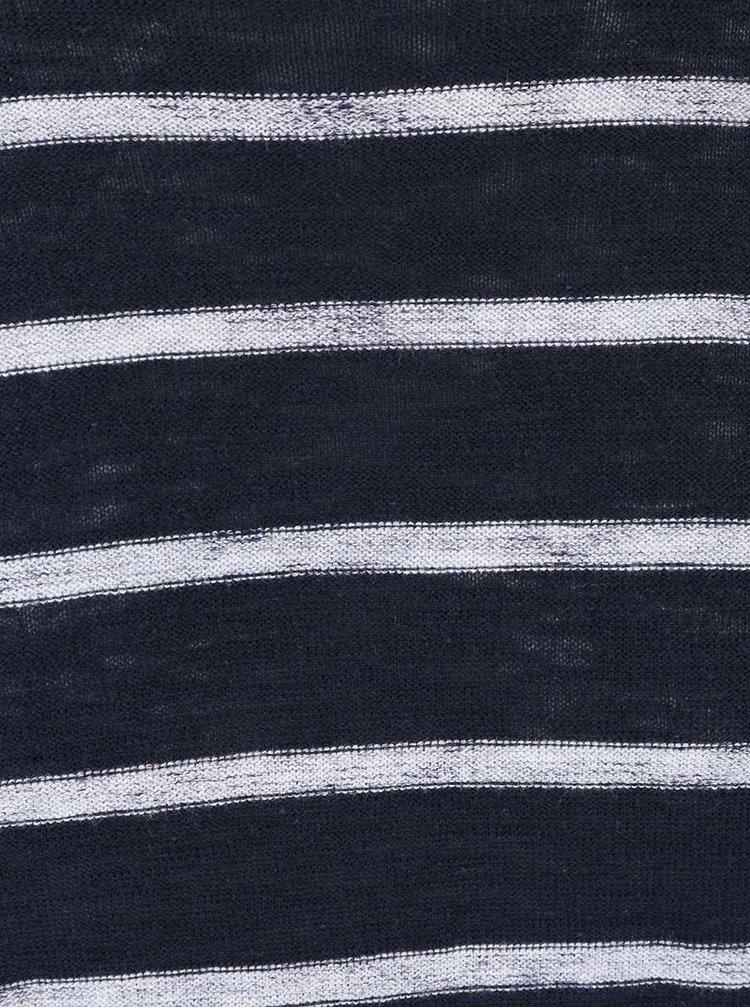 Bluza bleumarin cu dungi crem din bumbac Jack & Jones Derrick
