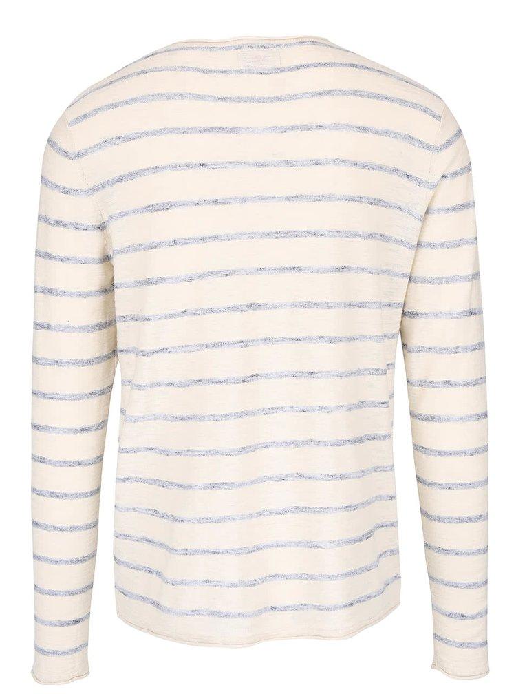 Bluză crem cu dungi bleumarin din bumbac Jack & Jones Derrick